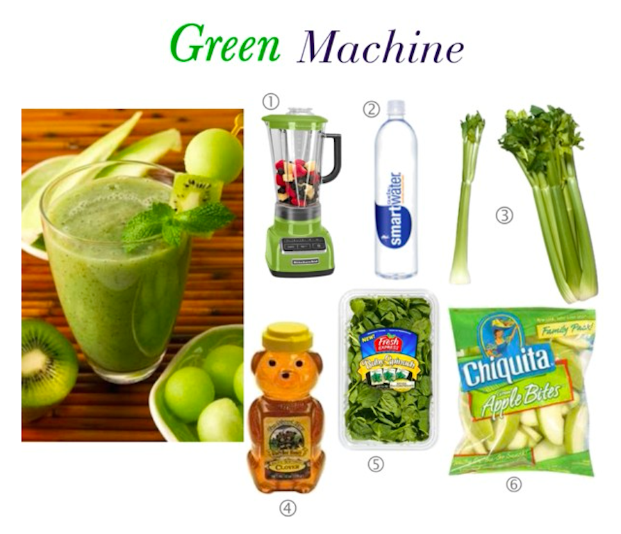 Oyster blender, smart water, busy bee honey, organic spinach, apples, organic celery