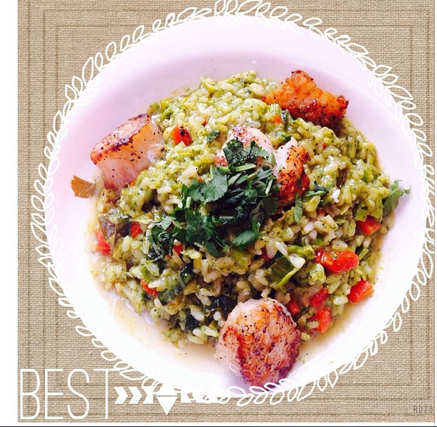 instagram pslilyboutique, los angeles fashion blogger, food, lifestyle, dine la, green curry scallop risotto, cafe santorini