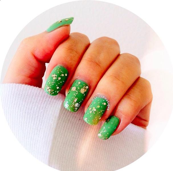 nails, nail art, green