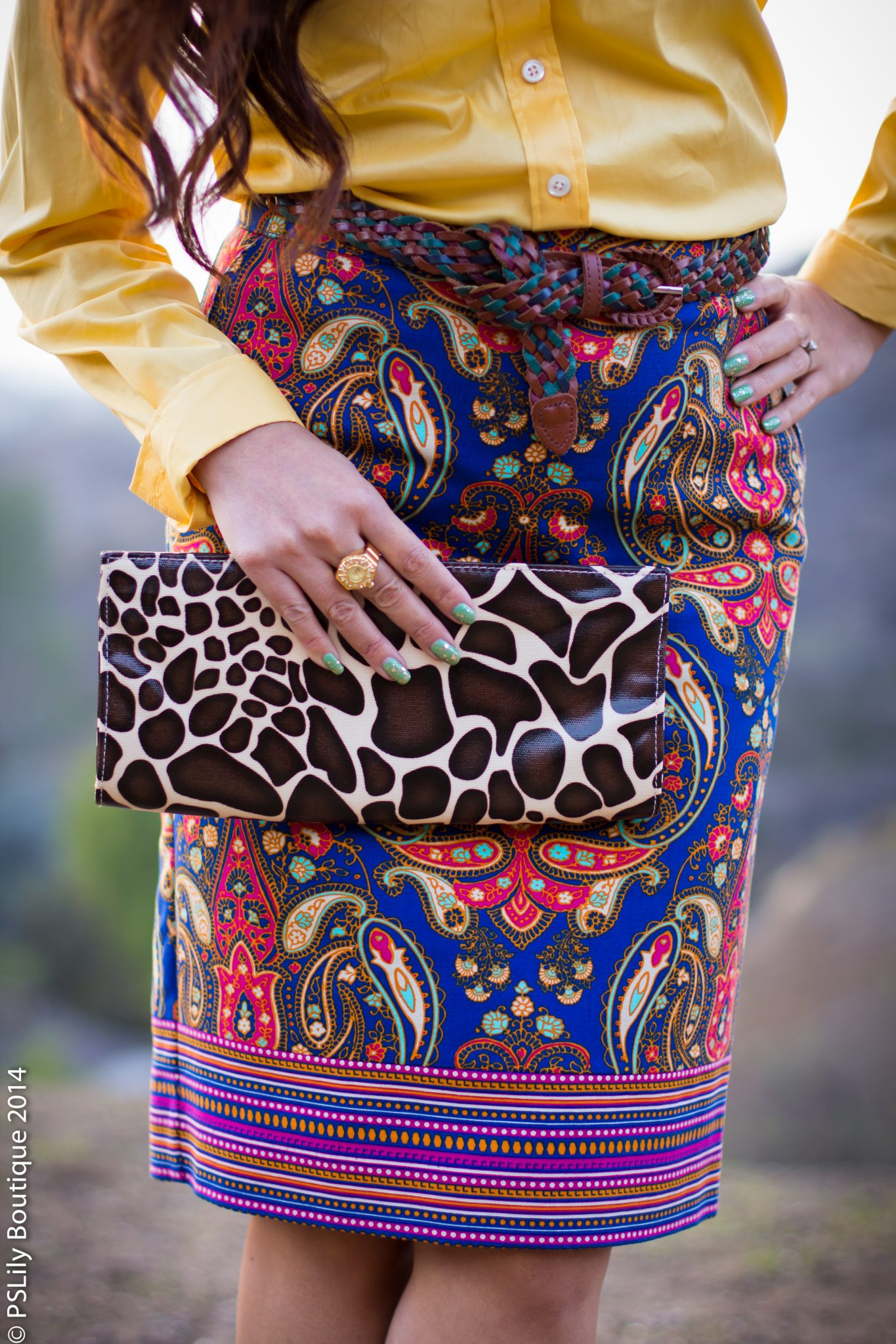 paisley pencil skirt, giraffe print clutch, watch ring