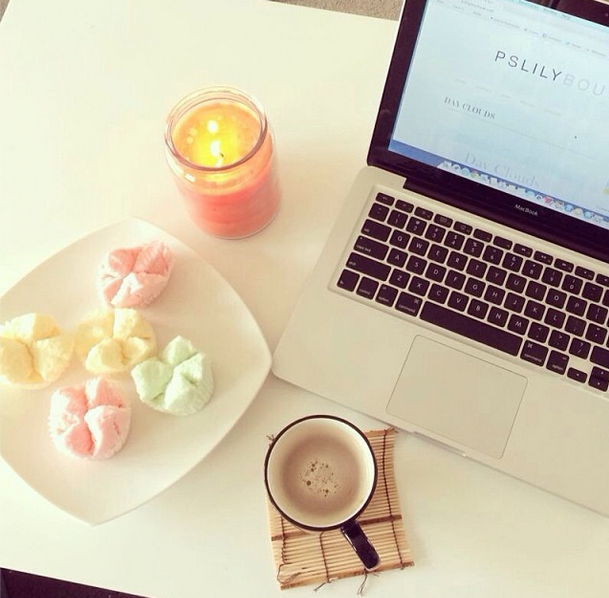 apple macbook pro, coffee, candle, baked goods