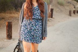 Instagram @pslilyboutique, LA fashion blogger, blog, floral dress, cardigan, boots