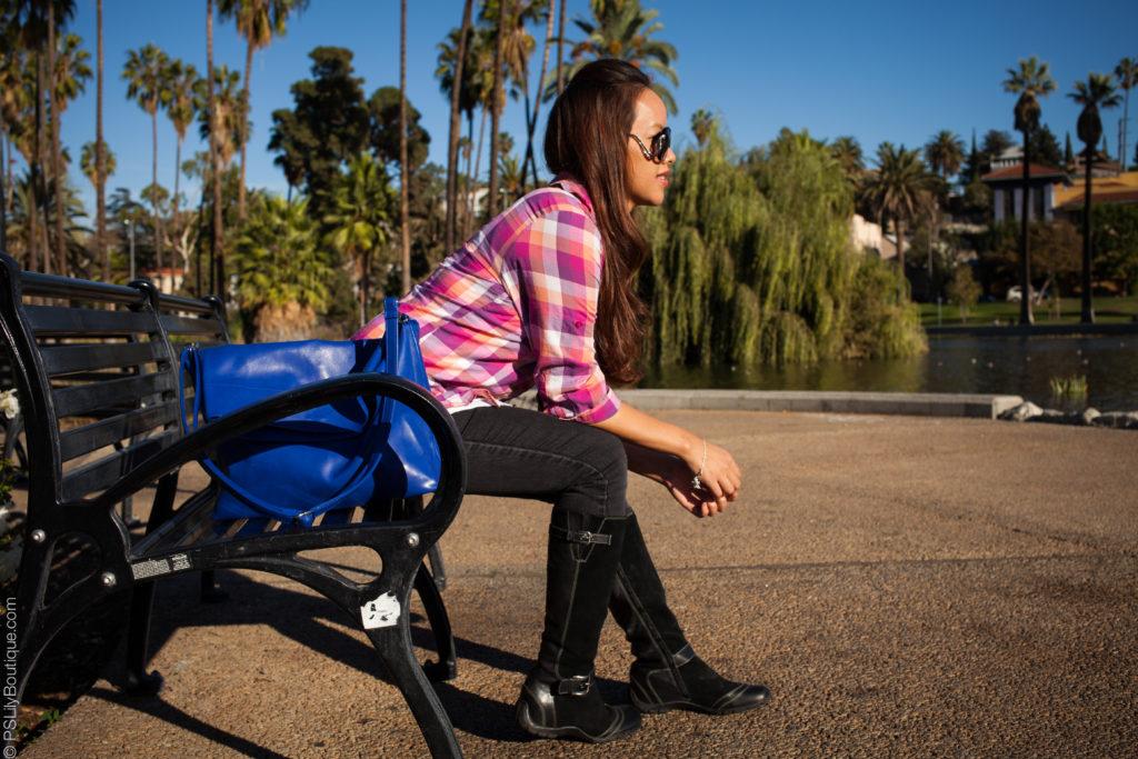Instagram: @pslilyboutique, LA fashion blogger, pink plaid shirt, boots, bag, hair, jeans