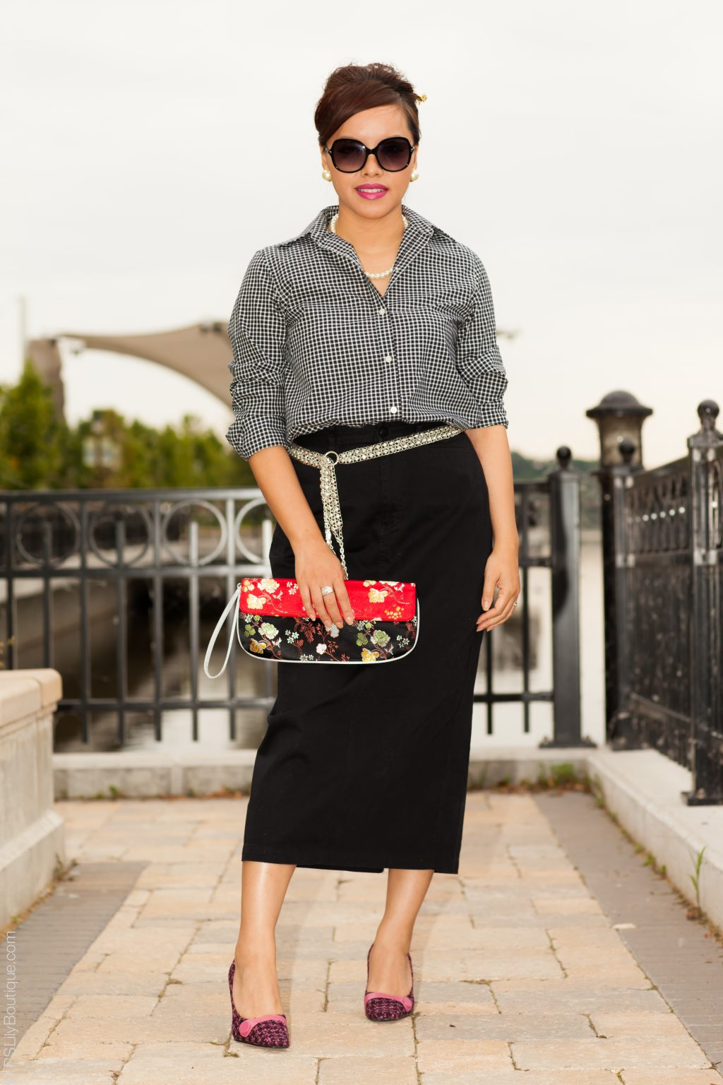 instagram-pslilyboutique-la-fashion-blogger-blog-chaps-gingham-shirt-black-rafaella-midi-skirt