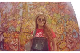 Carnival Breeze, LA fashion blogger, best fashion blogger, overall, red top t-shirt, bag, long hair, style blogger, lifestyle, travel