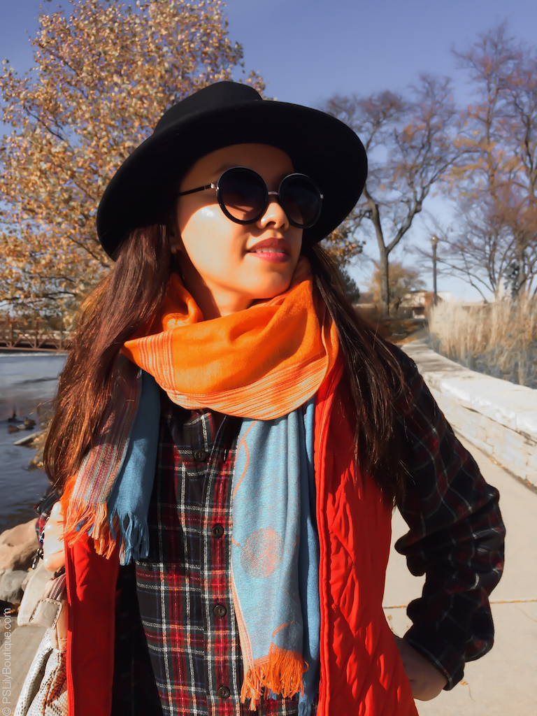 instagram-pslilyboutique-facebook-orange-turquoise-blue-plaid-scarf-orange-relativity-excursion-quilted-vest-forever-21-round-sunglasses-fedora-hat-fall-ootd-2016-my-style-11-13-16-kokie-cosmetics-78-vamp-matte-lipstick