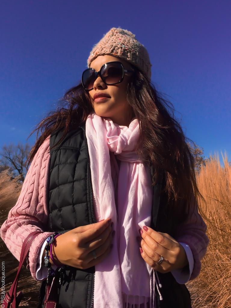 instagram-pslilyboutique-pinterest-pink-scarf-with-fringe-beige-pom-pom-beanie-knit-hat-black-puffer-vest-fall-fashion-kokie-cosmetics-high-tea-matte-lipstick-2016-11-17-16