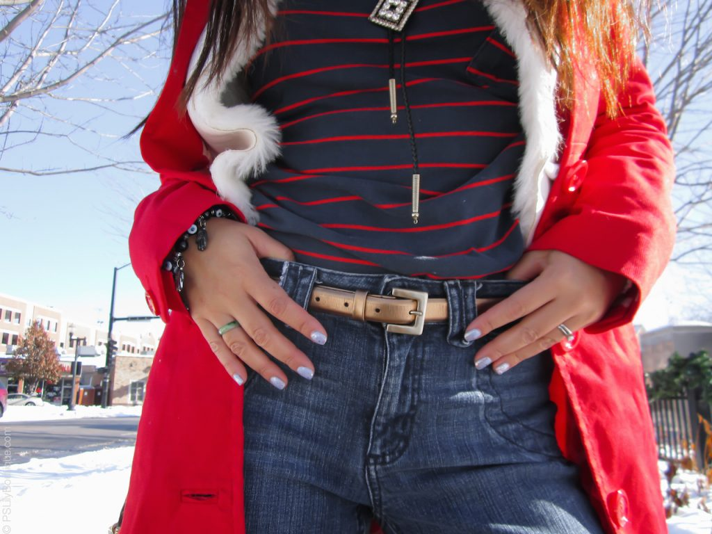 instagram-pslilyboutique-los-angeles-fashion-blogger-blog-gold-american-eagle-outfitters-skinny-belt-kokie-cosmetics-nail-polish-red-stripe-shirt-h&m-red-coat-winter-2016-outfits-12-26-16