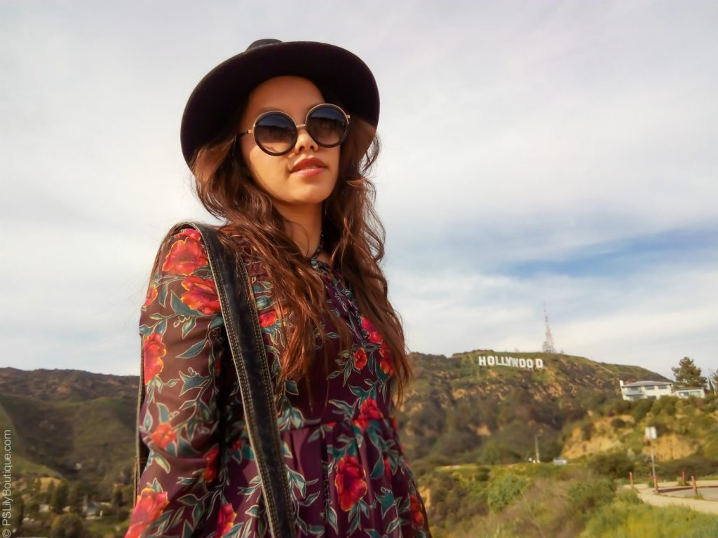 instagram-pslilyboutique-los-angeles-fashion-blogger-hollywood-sign-2017-black-forever-21-wool-hat-floral-maroon-target-dress-winter-2017-outfit-ideas