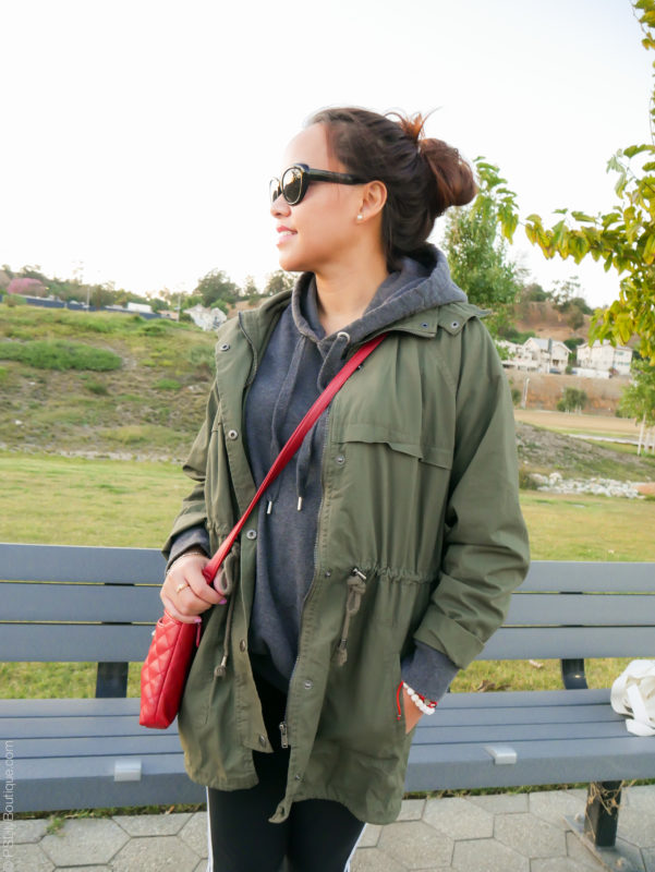 Instagram: @pslilyboutique, Pinterest, Los Angeles fashion blogger, top fashion blog, best fashion blog, fashion & personal style blog, travel blog, Fall 2017 outfit ideas, green jacket, gray hoodie, red bag, fall uniform
