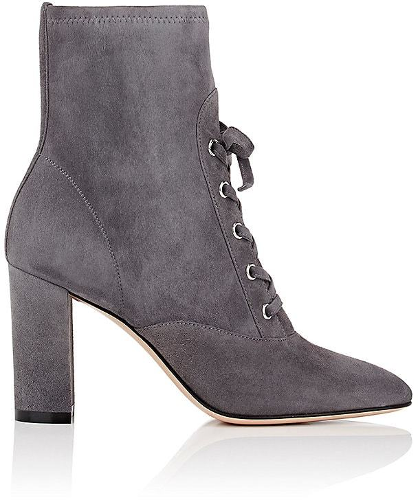 Suede Grey Lace-Up Ankle Boots