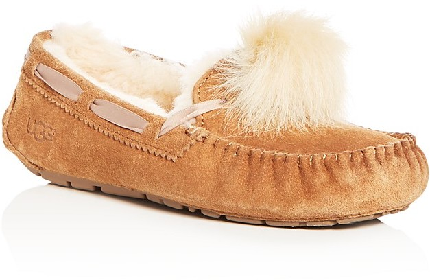 SUEDE & SHEARLING POM-POM SLIPPERS
