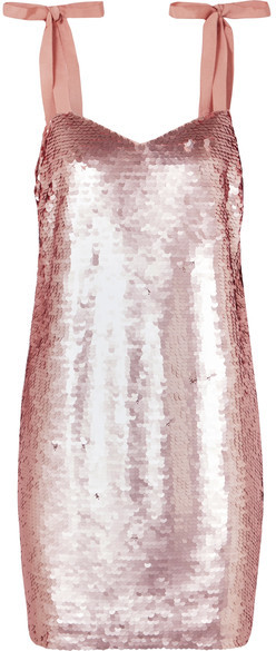 Yokners Paillette-embellished Tulle Mini Dress – Pink
