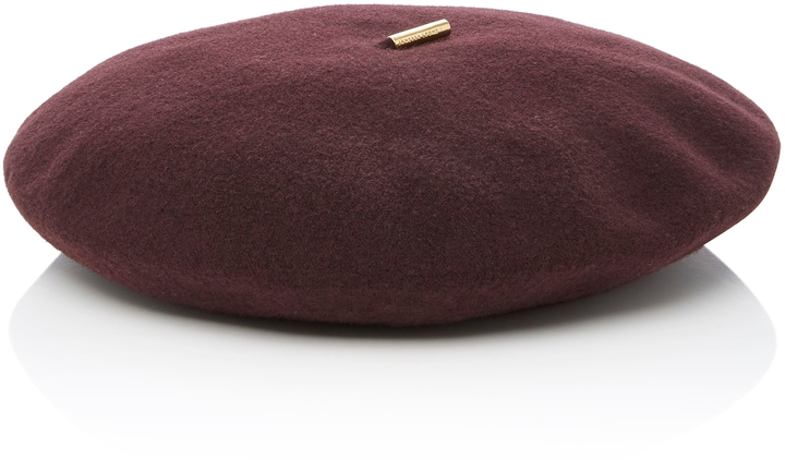 Burgundy Knitted Wool Beret