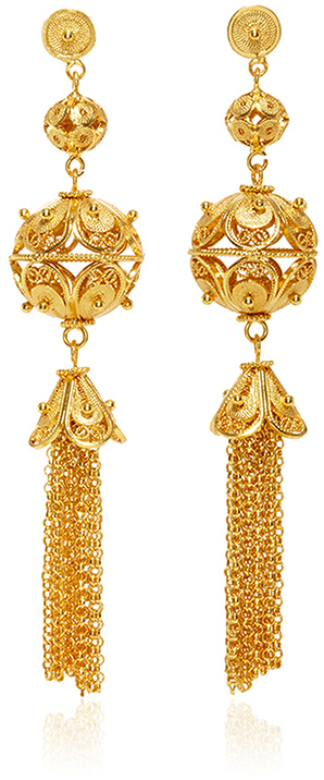Gold Embellished Ball and Tassel Earrings