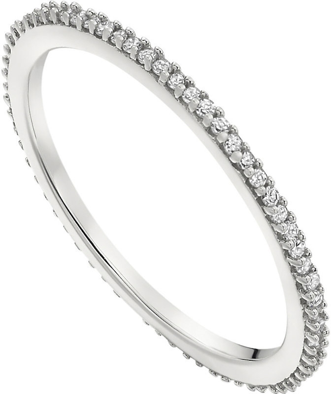 Skinny sterling silver and diamond eternity ring