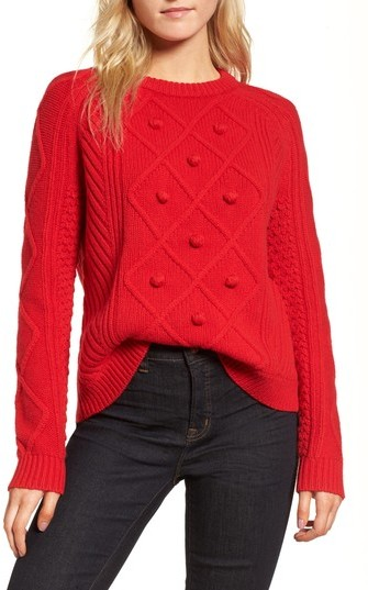 Merino Wool Cable Pompom Sweater