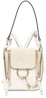 Faye Leather & Suede Mini Backpack in off white