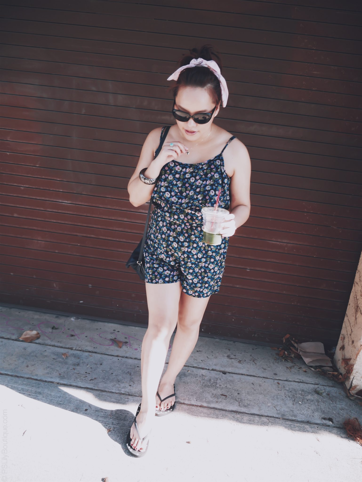 Leaf It Alone... Instagram: @ pslilyboutique, Pinterest, Twitter, Facebook, Los Angeles fashion blogger, top fashion blog, best fashion blog, fashion & personal style blog, travel blog, travel blogger, LA fashion blogger, Women's Black Flip Flops, Target, Kenneth Cole Reaction Navy Blue Gretchen Crossbody Bag, Anthropologie Pink Bandana Scarf, Long Hair Style, Top Knot Bun, Ootd, Spring & Summer 2018 Outfit Ideas, Navy Blue Floral Romper, My Style, Spring & Summer 2018 Outfit Ideas, Travel Outfit,