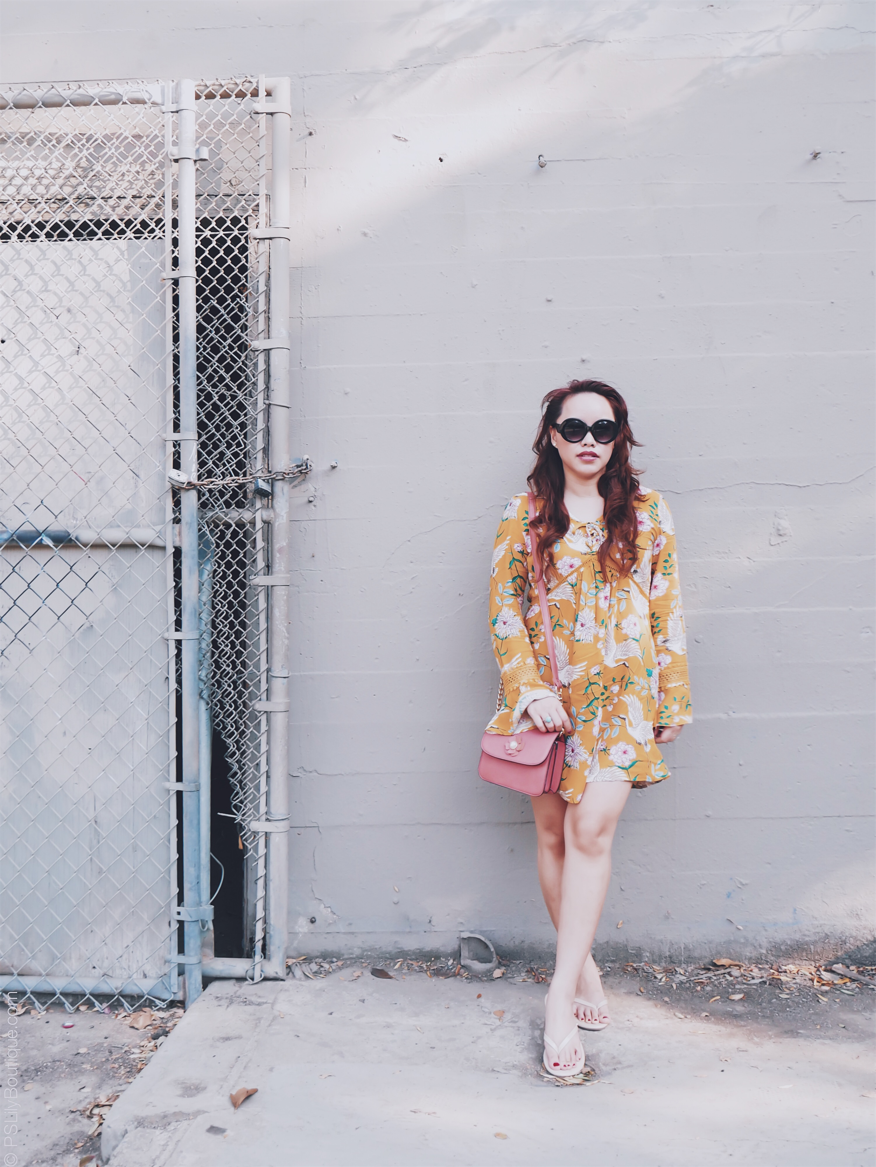 Like a bird... | PSLily Boutique - A Fashion & Personal Style Blog. Instagram: @pslilyboutique, Pinterest, Los Angeles fashion blogger, top fashion blog, best fashion blog, fashion & personal style blog, travel blog, travel blogger, LA fashion blogger, Sam Edelman Nude Beige Slip- Ons Sandals Shoes, Spring & Summer 2018 Outfit ideas, yellow dress, floral & bird print dress, Andrew Marc Salmon Pink Flower Detail Mini Bag, Long Hair, Beauty, My Style, 7.20.18