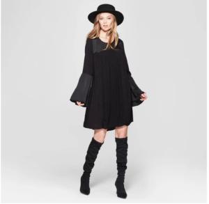 Women's Bell Long Sleeve Shift Dress – Knox Rose™ Black
