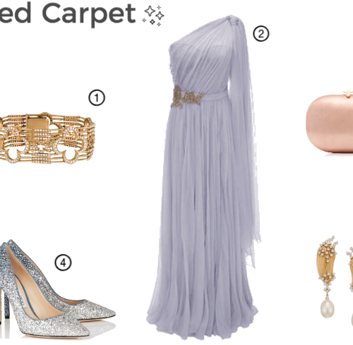 Red-carpet-2019-outfit-ideas, Instagram: @pslilyboutique, Pinterest, Los Angeles Fashion blogger, top fashion blog, fashion & personal style blog, travel blog, travel blogger, LA fashion blogger, shopping, Lilac Alexander Mcqueen One Shoulder Embroidered Evening Dress, Jimmy Choo ROMY 100 Navy and Silver Coarse Glitter Degrade Pointy Toe Pumps, bracelet, earrings, pink satin box clutch bag, 2-12-19