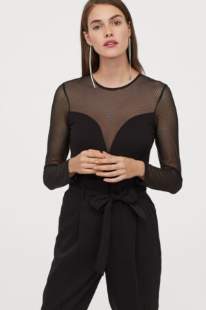 Long Sleeved Bodysuit -Black