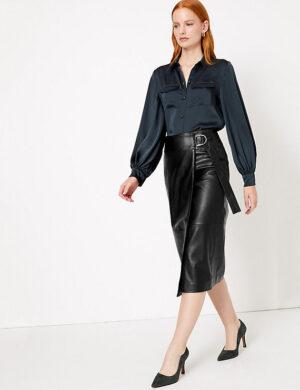 AUTOGRAPH Leather Wrap Pencil Midi Skirt