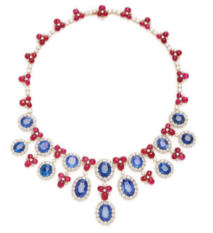 Eleuteri Vintage 18K Yellow Gold Bulgari Ruby and Sapphire Necklace