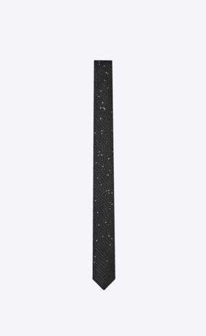 Saint Laurent NARROW TIE IN LAMÉ SILK JACQUARD WITH EMBROIDERED SEQUINS