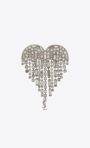 Saint Laurent SMOKING SHOOTING HEART BROOCH IN BRASS AND WHITE CRYSTALS