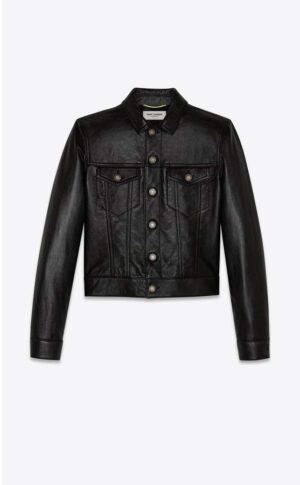 Saint Laurent Denim Jacket In Shiny Lambskin -Black