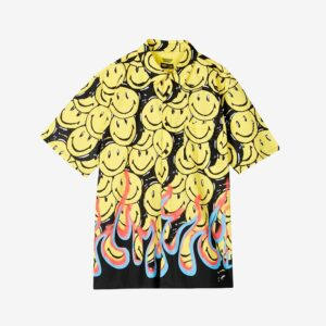 Chinatown market Smiley Flames SS T-Shirt Article no. Smileyflames -Black/Yellow