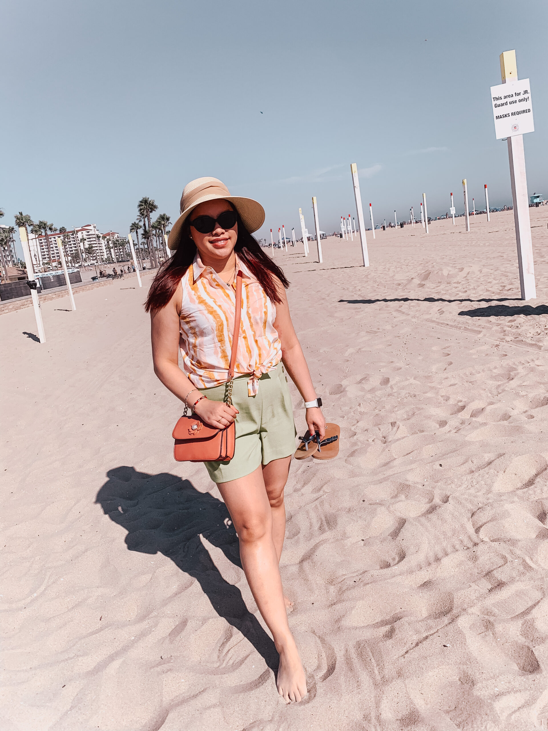 pslilyboutique-on-instagram-pinterest-if-summer-was-an-outfit-ann-taylor-pink-peach-sleeveless-shirt-green-shorts-summer-2020-outfit-ideas-IMG_1085